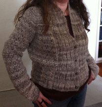 handspun, hand knitted, lightweight, soft light brown and cream variagated lacey cardigan